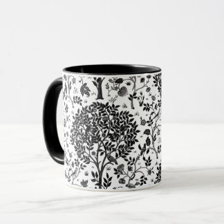 William Morris Tree of Life Pattern, Black & White Mug