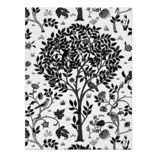 William Morris Tree of Life Pattern, Black & White Poster