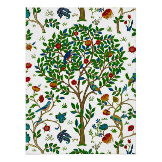 William Morris Tree of Life Pattern, Green & Multi Poster