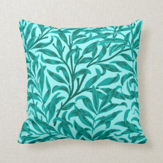 William Morris Willow Bough, Turquoise and Aqua Cushion