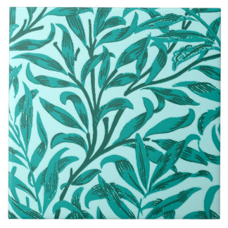 William Morris Willow Bough, Turquoise and Aqua Large Square Tile