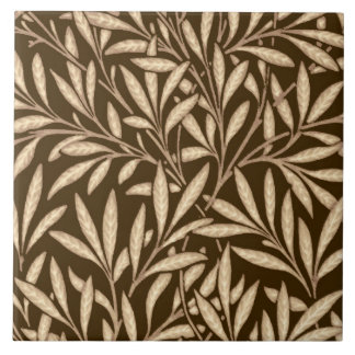 William Morris Willow Pattern, Brown and Beige Large Square Tile