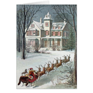 William Roger Snow  -  Vintage Santa and Sleigh Card