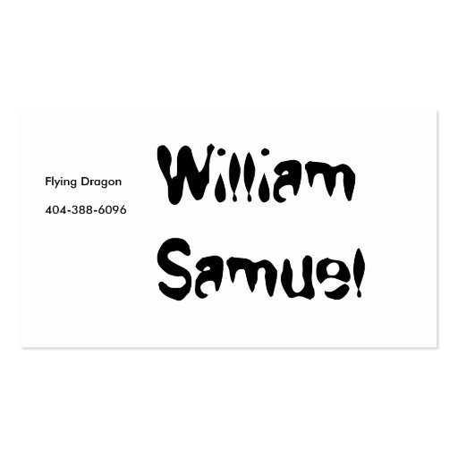 William Samuel, Flying Dragon Pack Of Standard Business Cards