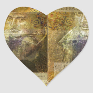 WILLIAM SHAKESPEARE art Heart Sticker