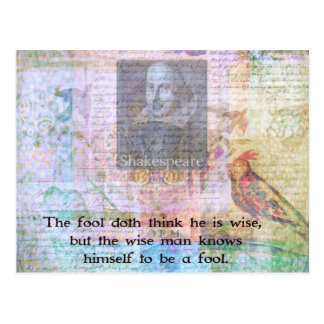 William Shakespeare quote about wisdom and fools Postcard