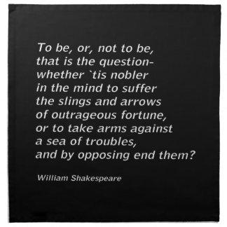 William Shakespeare`s `Hamlet` Napkin