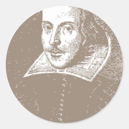 William Shakespeare Warm Gray Round Sticker