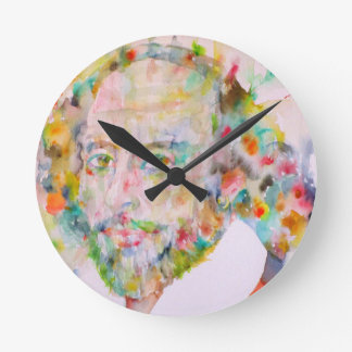 william shakespeare - watercolor portrait.1 round clock