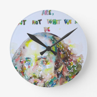 william shakespeare - watercolor portrait.2 round clock