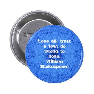 William Shakespeare Wisdom Quotation Saying Pinback Button