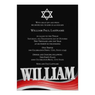 William Steel Wave Red Bar Mitzvah Card