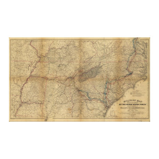 William T. Sherman Marches Military Map 1863 64 65 Gallery Wrapped Canvas