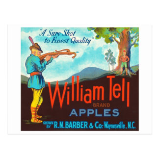 William Tell Apples Vintage Crate Label Postcard