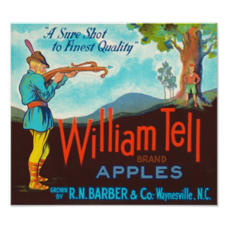 William Tell Apples Vintage Crate Label Poster