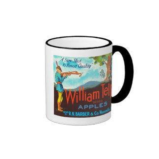 William Tell Apples Vintage Crate Label Ringer Mug
