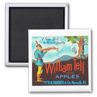 William Tell Apples Vintage Crate Label Square Magnet