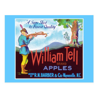 William Tell Apples Vintage Label Postcard