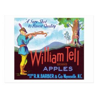 William Tell Apples Vintage Label Postcard