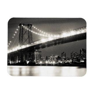 Williamsburg bridge in New York City at night Rectangular Photo Magnet