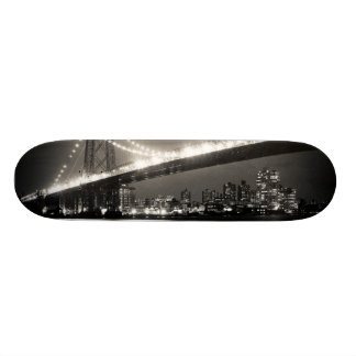 Williamsburg bridge in New York City at night Custom Skate Board