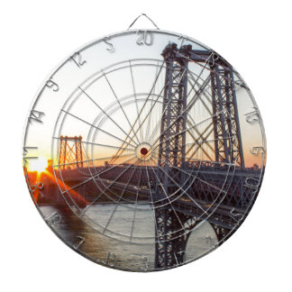 Williamsburg Bridge Sunset Brooklyn NYC Dartboard