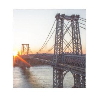 Williamsburg Bridge Sunset Brooklyn NYC Notepad