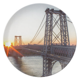 Williamsburg Bridge Sunset Brooklyn NYC Plate