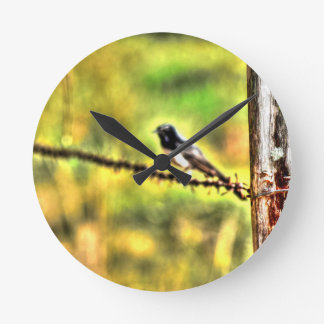 WILLIE WAGTAIL AUSTRALIA WITH ART EFFECTS WALLCLOCK