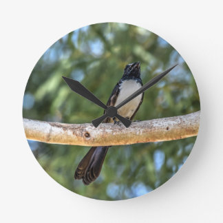 WILLIE WAGTAIL IN TREE RURAL QUEENSLAND AUSTRALIA WALL CLOCK