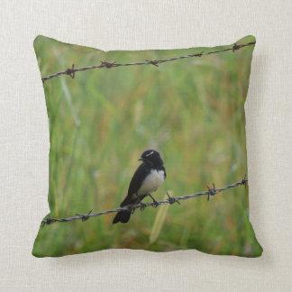 WILLIE WAGTAIL ON BARB WIRE FENCE AUSTRALIA THROW PILLOW