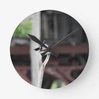 WILLIE WAGTAIL RURAL QUEENSLANF AUSTRALIA WALL CLOCK