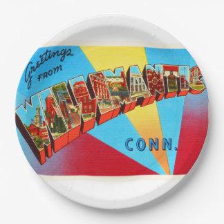 Willimantic Connecticut CT Vintage Travel Souvenir 9 Inch Paper Plate