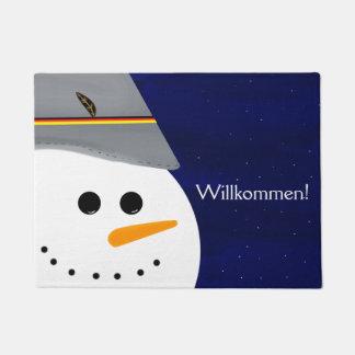Willkommen! German Welcome Doormat w/ Snowman
