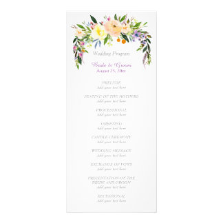 Willow and Floral Bouquet Wedding Program Rack Card
