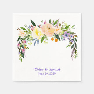 Willow and Flower Personalized Wedding Disposable Napkin