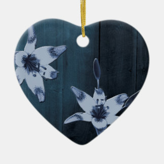 Willow Blue Flower Ceramic Heart Decoration