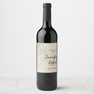 Willow Branch on Linen Wedding Wine Label