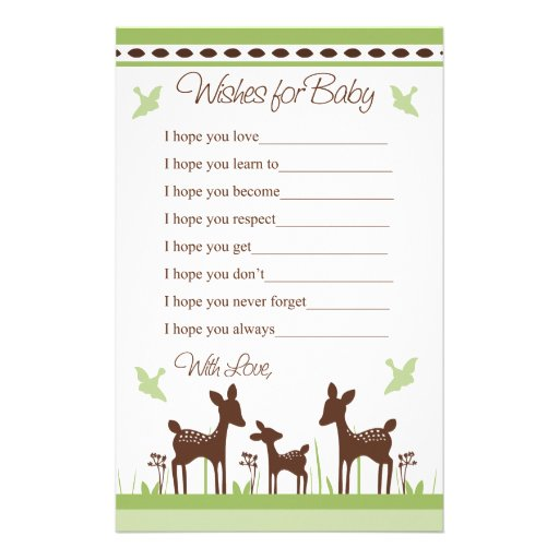 Willow Deer Family Wishes for Baby Letter Stationery Design