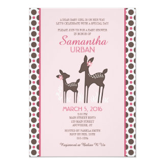 Willow Deer Pink Baby Shower Invitation