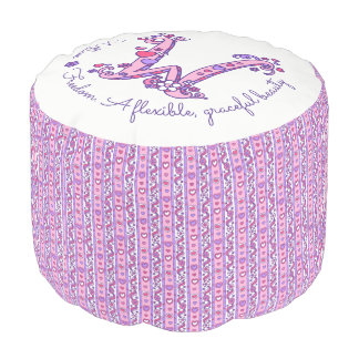 Willow letter W monogram name meaning custom pouf
