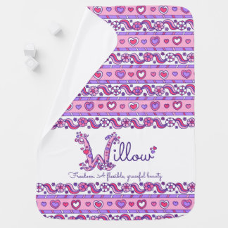 Willow name with name meaning hearts baby blanket
