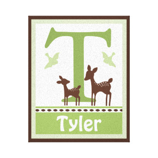 Willow Organic Deer Canvas Letter Name Print 8x10