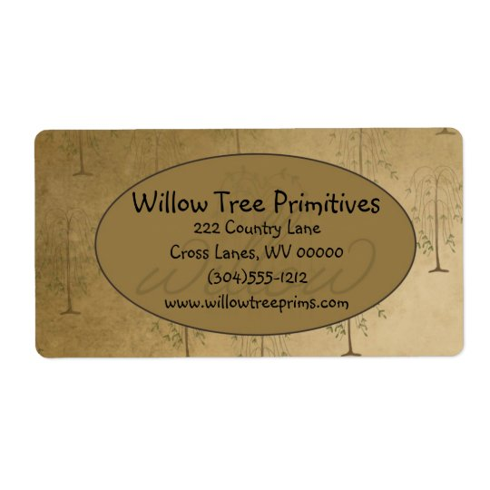 Willow Tree Primitive Country Label
