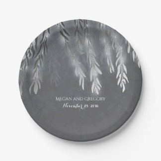 Willow Tree Silver String Light Vintage Wedding Paper Plate
