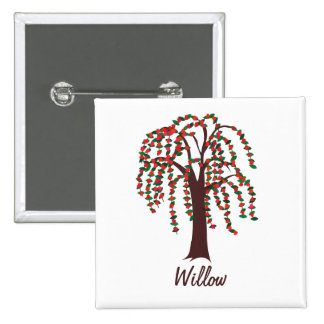 Willow Tree with Hearts - Customizable 15 Cm Square Badge