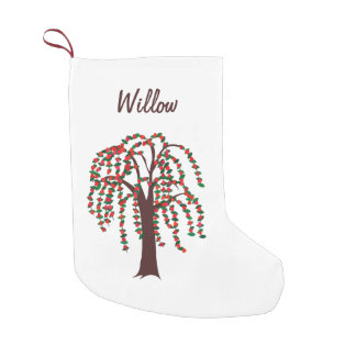 Willow Tree with Hearts - Customizable Small Christmas Stocking