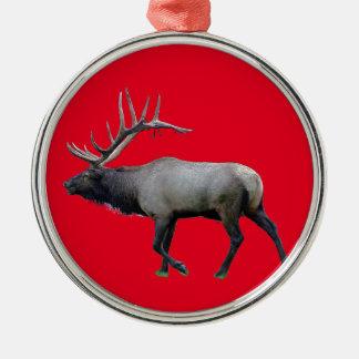Willow Wapiti elk Silver-Colored Round Decoration