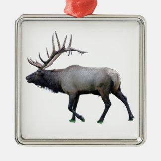 Willow Wapiti elk Silver-Colored Square Decoration
