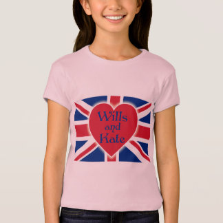Wills and Kate with Union Jack on Tshirts, Gifts T-Shirt